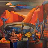 Hannah Höch: Symbolische Landschaft III, 1930, Öl auf Leinwand, Dr. Peter Heindlmeyer, Berlin, VG Bild-Kunst, Bonn 2017