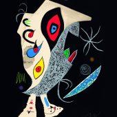 """ohne Titel, Entwurf für den Umschlag des Buchs """"Lune """"Barbare dans la nuit"""" (Der nächtliche Barbar), Farbaquatintaradierung, 1976 © Successió Miró / VG Bild-Kunst, Bonn 2018 © Galerie Boisserée, Köln 2018"""