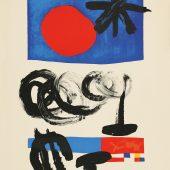 """ohne Titel, Entwurf für den Umschlag des Buchs """"Lune etoile"""", (Sternenmond) FarbLithographie, 1955 © Successió Miró / VG Bild-Kunst, Bonn 2018 © Galerie Boisserée, Köln 2018"""