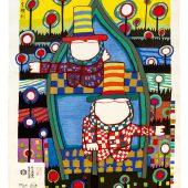Hundertwasser 851A DAS RECHT AUF TRÄUME · THE RIGHT TO DREAM · Japanischer Farbholzschnitt, 1988 © 2021 NAMIDA AG, Glarus/CH | HUNDERTWASSER-Ausstellung im Kunsthaus Apolda